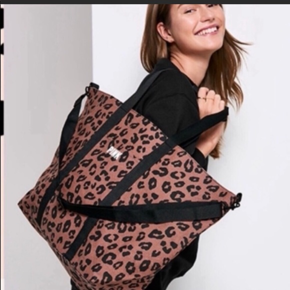 PINK Victoria's Secret Handbags - Victoria's Secret Pink Animal Print Weekender Tote